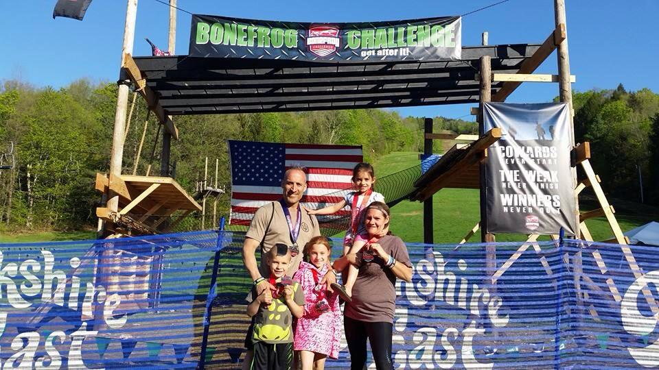 """The """"Crazy A's"""" - Ray & Melandie Alexander and kids-Liberty 9 Kody-Ray 7 Trinity 6 The Whole family completed the entire 4 mile Sprint course together."""