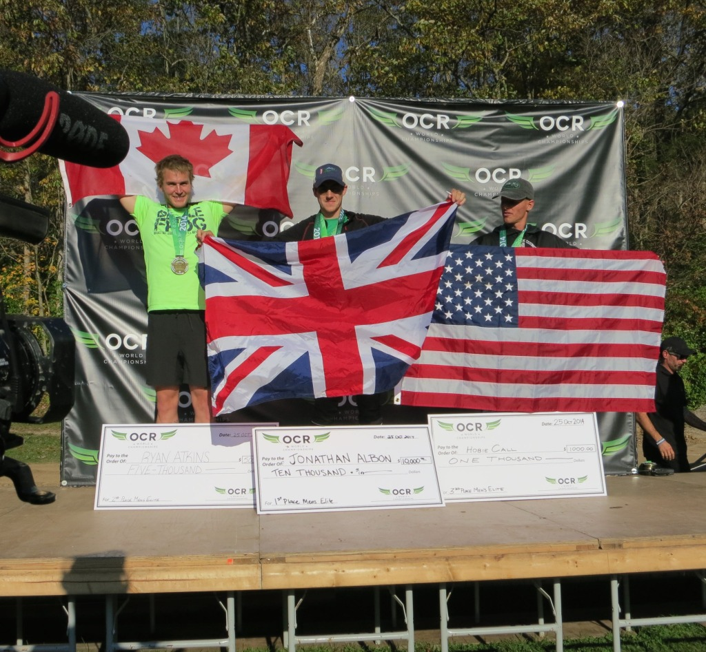 The OCR World Champions Ryan Atkins (2nd), Jonathan Albon (1st), Hobie Call (3rd)